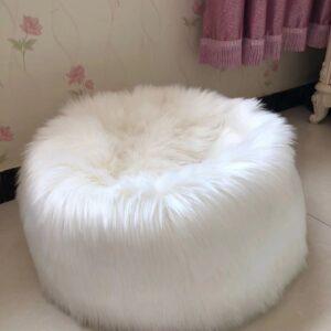 white faux sheepskin fur bean bag