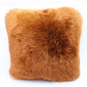 Brown sheepskin cushion