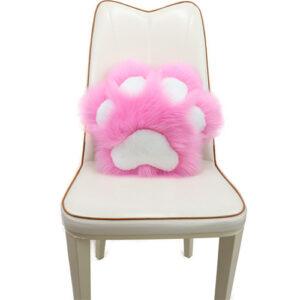 paw shaped fur pillow