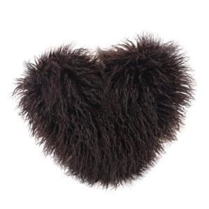 heart shaped mongolian fur pillow