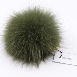 green fox fur pom pom keychain