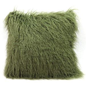 green mongolian fur cushion