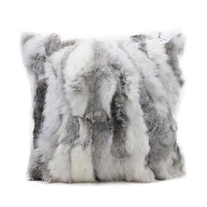 grey real rabbit fur pillow