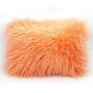 peach fake mongolian fur pillow