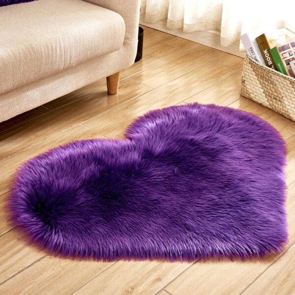 purple heart shaped faux fur rug