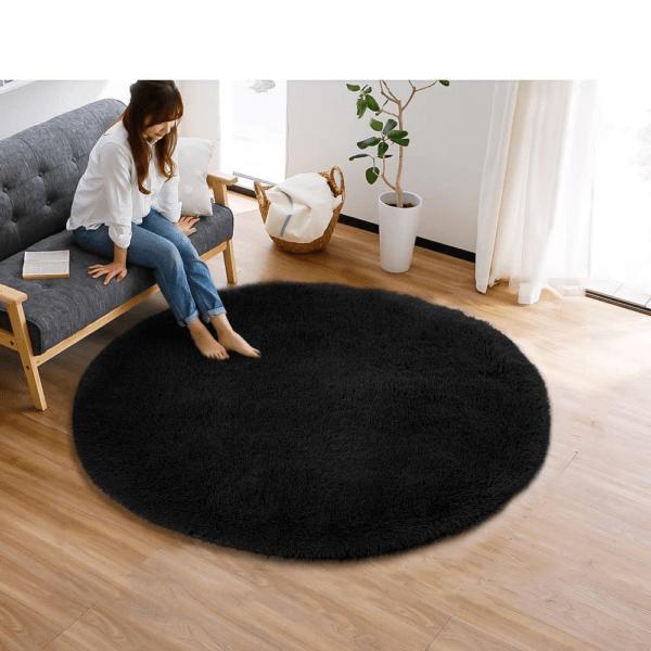 black faux fur rug1