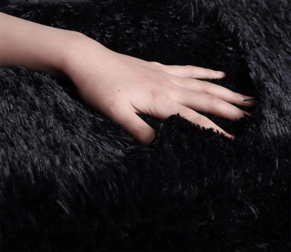 black faux fur rug2