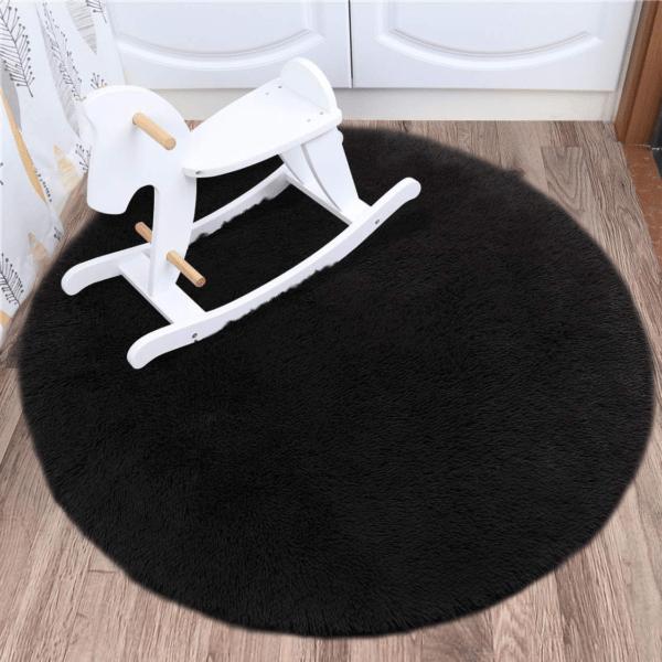 black faux fur rug3