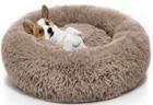 brown faux & real fur pet bed