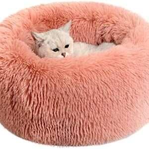 pink faux fur cat & dog bed