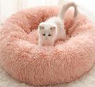 soft pink fur pet bed