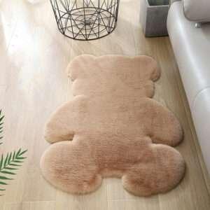 bear shaped peapock faux rabbit fur rug