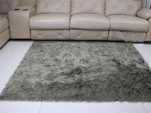 gray faux fur carpet