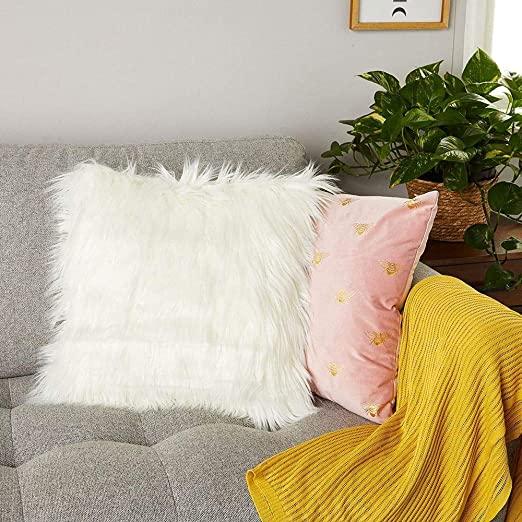 white faux fur pillow cover