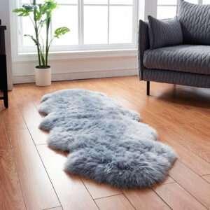 gray double genuine sheepskin rug
