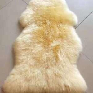 90x 60 long hair real genuine beige sheepskin rug