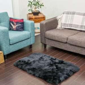 black sheepskin area rug 1