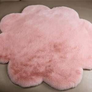 dirty pink flower shape faux fur carpet rug