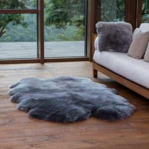 gray quad sheepskin rug