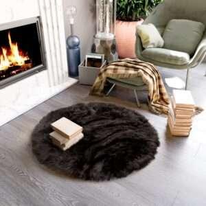 round sheepskin black area rug 1