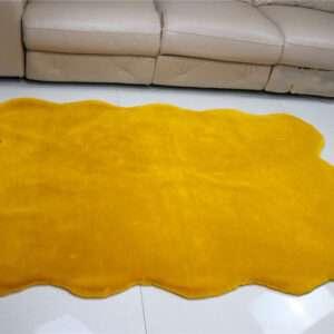 yellow faux rabbit fur carpet