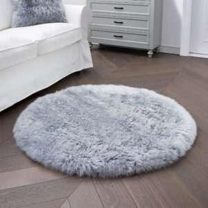 gray round sheepskin rug