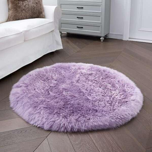purple round sheepskin rug